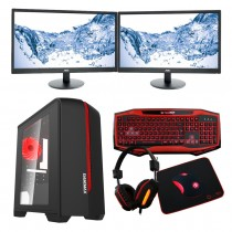 The Game Max Raptor Keyboard, Mouse, Headset and Mouse Mat featured in red with the Intel Core i7 Kaby Lake 7700 Gaming PC with a dual monitor - £983.04.