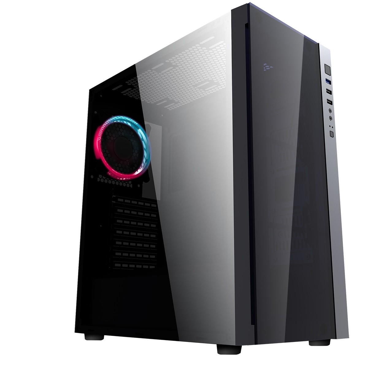 CiT Engine Black RGB Mid-Tower Gaming Case With Full Acrylic Window