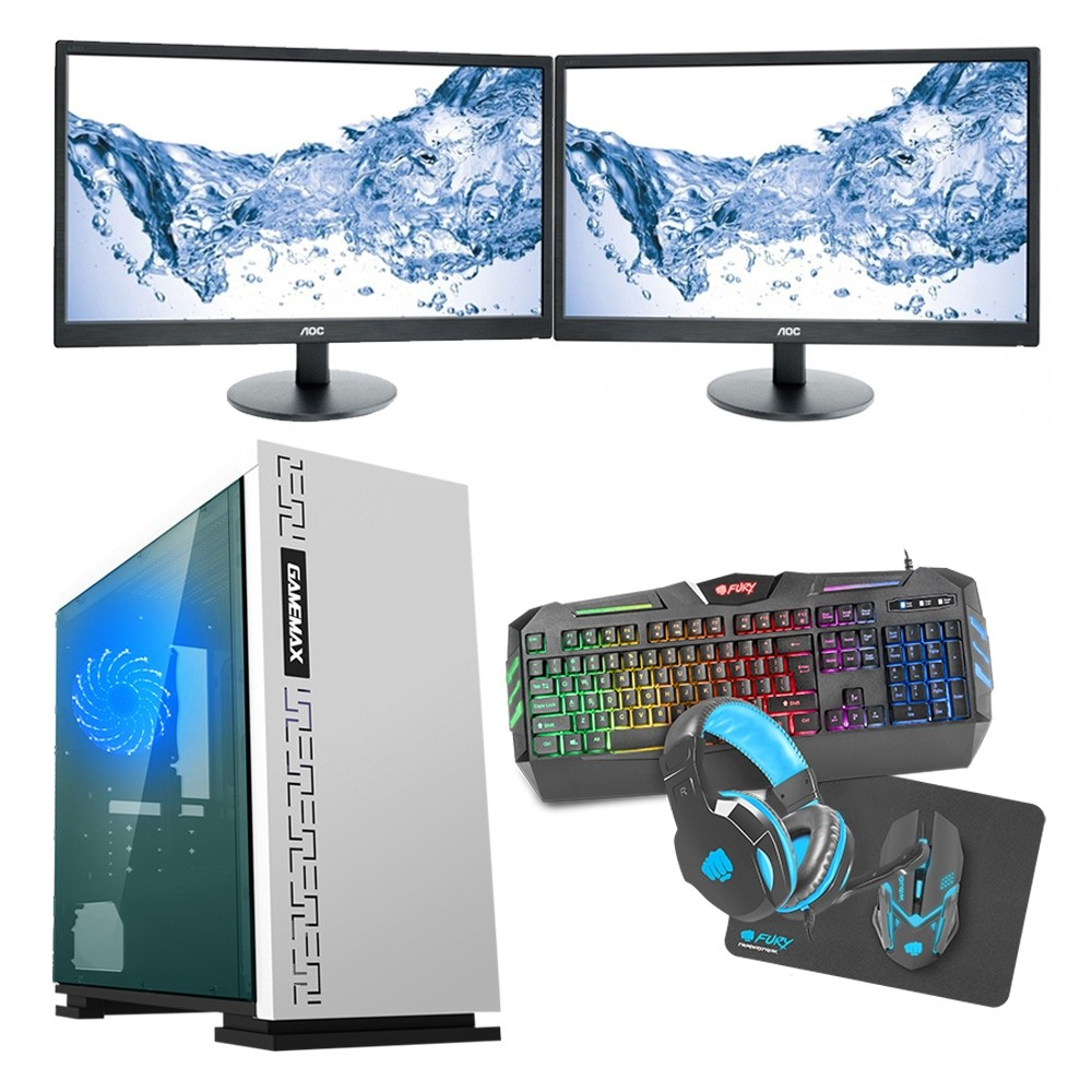 Intel CORE i5 Gaming PC Kaby Lake 7500 8GB 1TB GTX 1050Ti 4GB ULTRA FAST - Dual Monitor with Gaming Keyboard Bundle - Expedition White