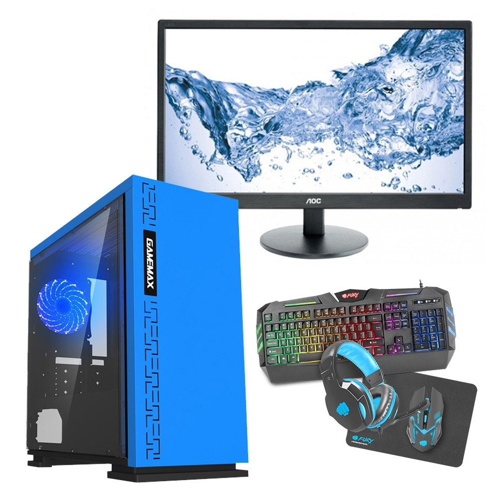 Intel CORE i5 Gaming PC Kaby Lake 7500 8GB 1TB GTX1650 4GB ULTRA FAST - Single Monitor with Gaming Keyboard Bundle - Expedition Blue