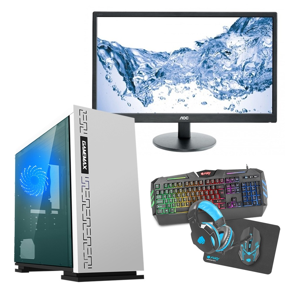 Intel CORE i5 Gaming Coffee Lake 8400 8GB 1TB GTX1650 4GB ULTRA FAST - Single Monitor with Gaming Keyboard Bundle - Expedition White