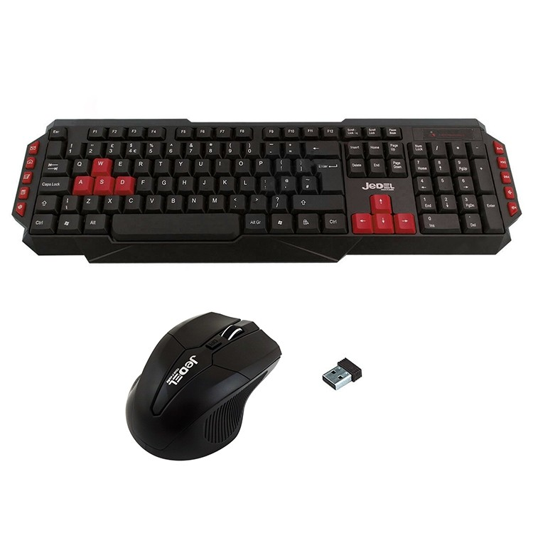 Jedel WS880 Wireless Gaming Desktop Kit Nano USB Multimedia Keyboard with Red Colour Coded Keys 800-2000 DPI Mouse
