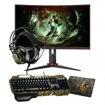 """AOC C27G2ZE 27"""" LED Widescreen 0.5ms Frameless Curved Monitor Canyon Argama Limited Edition 4 in 1 Gaming Bundle Kit"""