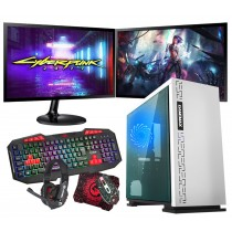 Intel CORE i5 Gaming PC Coffee Lake 8400 8GB 1TB GTX1650 4B ULTRA FAST - Dual Monitor with Gaming Keyboard Bundle - Expedition White