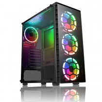 CiT Raider Mid-Tower Gaming Case 4 x Halo Spectrum RGB Fans Tempered Glass Front and Side MB SYNC