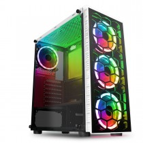CiT Raider White Case 4 x Halo Spectrum RGB Fans Glass Front and Side