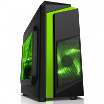 CiT F3 Black Micro-ATX Gaming Case With Green Stripe