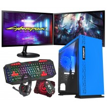 Intel CORE i5 Gaming PC Coffee Lake 8400 8GB 1TB GTX1650 4GB ULTRA FAST - Dual Monitor with Gaming Keyboard Bundle - Expedition Blue