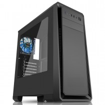 CiT Dark Soul Black Mid-Tower Gaming Case With 1 x 12cm Blue 4 LED Rear Fan Side Window Panel