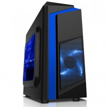 CiT F3 Black Micro-ATX Gaming Case With Blue Stripe