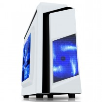 CiT F3 White Micro-ATX Gaming Case With Black Stripe