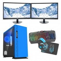 Intel CORE i5 Gaming PC Kaby Lake 7500 8GB 1TB GTX1650 4GB ULTRA FAST - Dual Monitor with Gaming Keyboard Bundle - Expedition Blue