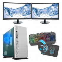 Intel CORE i5 Gaming PC Kaby Lake 7500 8GB 1TB GTX1650 4B ULTRA FAST - Dual Monitor with Gaming Keyboard Bundle - Expedition White