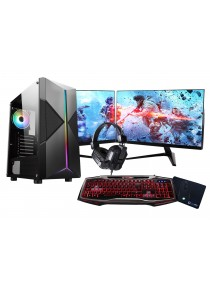 Core i5 Pyro Gaming PC Bundle 500GB HDD 16GB RAM 120GB SSD 4GB GTX1650 Graphics Windows 10 - Dual Monitor