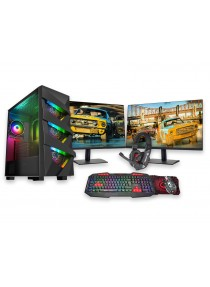 Ryzen 5 2600X Gaming PC Dual Monitor Bundle 8GB RAM 500GB HDD 120GB SSD 6GB GTX1660 - Windows 10 Pro